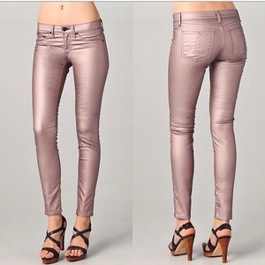 Rag & Bone NWOT pink metallic coated skinny jeans